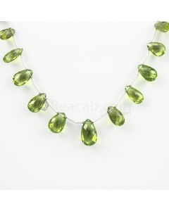 8 to 12 mm - Medium Green Peridot Faceted Drops - 21.00 carats (PDr1028)