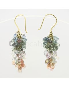 3 to 4 mm - Multi-Sapphire Drop Earrings - 47.50 carats (CSEarr1006)