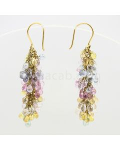 3 to 4 mm - Multi-Sapphire Drop Earrings - 51.00 carats (CSEarr1010)