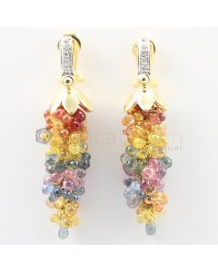 3 mm - Multi-Sapphire Drop Earrings - 76.50 carats (CSEarr1026)
