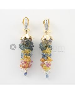 3 mm - Multi-Sapphire Drop Earrings - 71.50 carats (CSEarr1029)