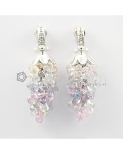 3 to 4 mm - Multi-Sapphire Drop Earrings - 92.00 carats (CSEarr1034)