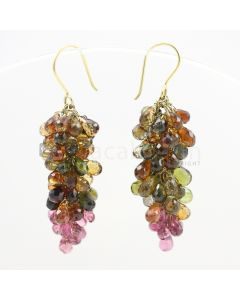 3 to 4 mm - Multi-Tourmaline Drop Earrings - 59.72 carats (CSEarr1015)