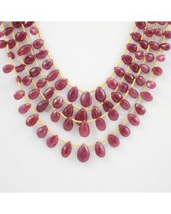 5 to 11 mm - 4 Lines - Ruby Drops - 130.75 carats (RDr1013)