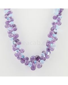 6.30 to 11.50 mm - 1 Line - Amethyst and Blue Topaz Drops Necklace  - 316.50 carats (CSNKL1138)