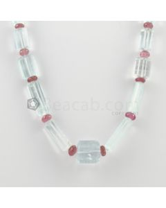 14 to 25 mm - 1 Line - Aquamarine and Tourmaline Tube Beads Necklace - 358.63 carats (CSNKL1146)