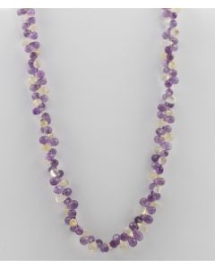 Amethyst, Citrine Briolette - 1 Line - 168.00 carats - 16 inches - (CSNKL1007)