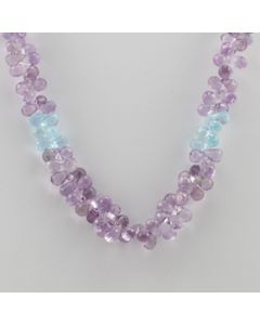 Amethyst, Blue Topaz Briolette - 1 Line - 165.50 carats - 15 inches - (CSNKL1028)
