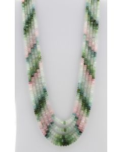Multi-Tourmaline Roundel Beads - 5 Lines - 439.00 carats - 17 to 20 inches - (MTour1011)