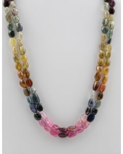 Multi-Sapphire Tumbled Beads - 2 Lines - 262.85 carats - 16 to 17 inches - (MSTuB1040)