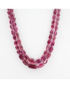 Pink Tourmaline Long Tumbled Beads - 2 Lines - 203.81 carats - 15.50 to 16 inches - (ToTub1007)