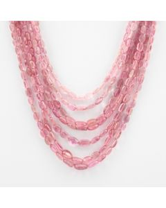 Pink Tourmaline Long Tumbled Beads - 7 Lines - 252.50 carats - 1.25 to 18 inches - (ToTub1008)