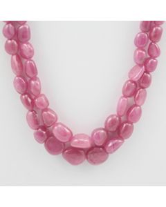 Pink Sapphire Tumbled - 2 Lines - 399.05 carats - 20 to 21 inches - (PnSTuB1009)