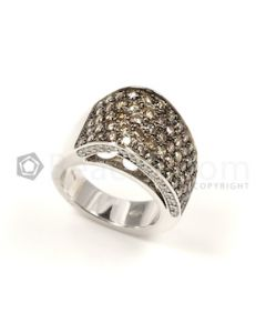 Round Shape Brown/White Diamond Ring in 18kt White Gold - 17.9 grams - EST1237