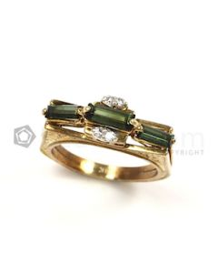 Rectangle Shape Green, White Tourmaline, Diamond Ring in 14kt Yellow Gold - 6.2 grams - EST1282