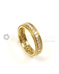 Round Shape White Diamond Ring in 18kt Yellow Gold - 4.9 grams - EST1347