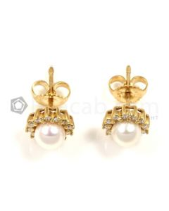 Round Shape White Diamond, Pearl Earrings in 14kt Yellow Gold - 3.2 grams - EST1364