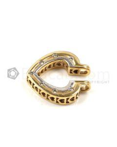 Heart Shape White Diamond Pendant in 14kt Yellow Gold - 4.3 grams - EST1376