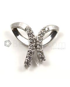 Bow Shape White Diamond Pendant in 14kt White Gold - 5.1 grams - EST1379