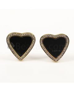 Heart Shape Black, White Onyx, Diamond Earrings in 18kt Yellow Gold - 25.6 grams - EST1394