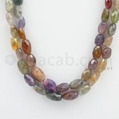 Multi-Sapphire Faceted Long Beads - 2 Lines - 341.80 carats - 20 to 21 inches - (MSFLB1002)
