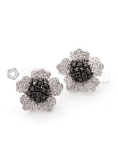 18kt White Gold, Black Diamond and White Diamond Floral Earrings - EST1430