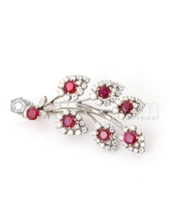 Platinum, 18kt Yellow Gold, Ruby and Diamond Lady's Floral Pin - EST1431