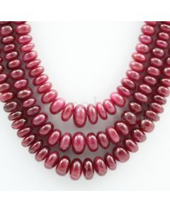 Ruby Roundel Beads - 3 Lines - 426.00 carats - 15 to 17 inches - (RuRoB1025)