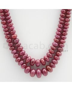Ruby Roundel Beads - 2 Lines - 359.40 carats - 16 to 17 inches - (RuRoB1020)