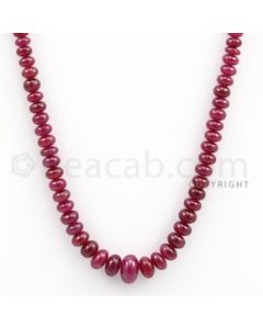 Ruby Roundel Beads - 1 Line - 119.65 carats - 18 inches - (RuRoB1003)