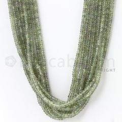 8 Lines - 2.4 to 3.5 mm - Light Green Sapphire Faceted Beads - 394.85 cts. (GSFB1011)