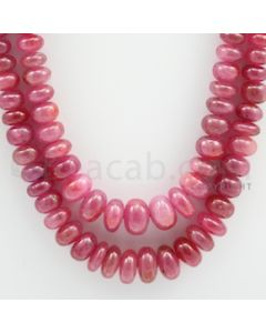 Pink Sapphire Roundel Beads - 2 Lines - 530.00 carats - 20 to 22 inches - (PnSRoB1004)