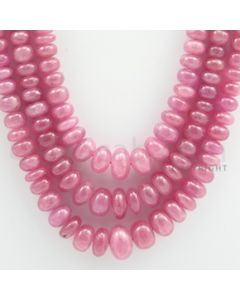 Pink Sapphire Roundel Beads - 3 Lines - 684.50 carats - 18 to 20 inches - (PnSRoB1005)