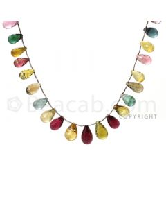 27 pcs - Medium Tones - Tourmaline Faceted Drops (AAA) - 152.00 cts. (TFD1002)