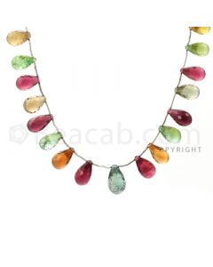 21 pcs - Medium Tones - Tourmaline Faceted Drops (AAA) - 112.00 cts. (TFD1003)