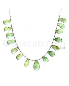 15 pcs - Medium Green - Tourmaline Faceted Drops (AAA) - 79.25 cts. (TFD1012)