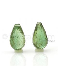 2 pcs - Medium Green - Tourmaline Faceted Drops (AAA) - 12.69 cts. (TFD1015)