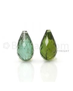 2 pcs - Dark Green - Tourmaline Faceted Drops (AAA) - 8.25 cts. (TFD1029)