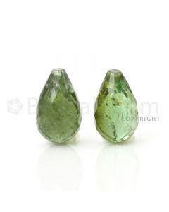 2 pcs - Medium Green - Tourmaline Faceted Drops (AAA) - 11.80 cts. (TFD1031)