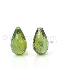 2 pcs - Medium Green - Tourmaline Faceted Drops (AAA) - 12.38 cts. (TFD1035)
