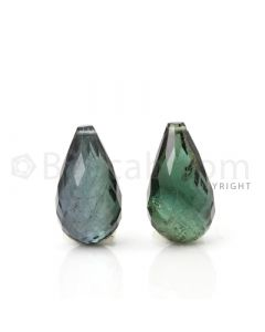 2 pcs - Dark Green - Tourmaline Faceted Drops (AAA) - 10.26 cts. (TFD1036)