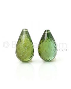2 pcs - Medium Green - Tourmaline Faceted Drops (AAA) - 11.43 cts. (TFD1041)