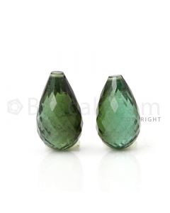 2 pcs - Dark Green - Tourmaline Faceted Drops (AAA) - 11.73 cts. (TFD1042)