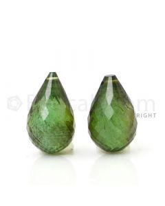 2 pcs - Dark Green - Tourmaline Faceted Drops (AAA) - 14.21 cts. (TFD1047)