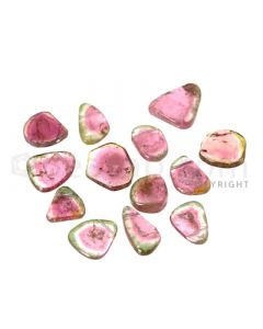 13 pcs - Watermelon (Bi-Color) Tourmaline Slices - 107.50 cts - 13.5 x 12.5 x 3 mm to 19 x 16 x 5 mm (TOUSL1053)