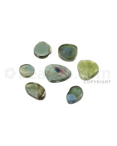 5 pcs - Watermelon (Bi-Color) Tourmaline Slices - 7.81 cts - 5.5 x 5.6 x 1.6 mm to 7.9 x 9.9 x 1.6 mm (TOUSL1074)
