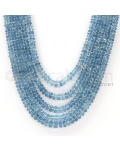 5 Lines - Blue Faceted Aquamarine Beads - 350.9 cts - 3.3 x 4.9 mm to 3.3 x 5.5 mm (AQFB1011)