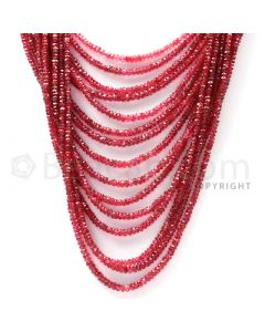 17 Lines - Red Spinel Faceted Beads - 845.5 cts - 2.8 to 3.2 mm (SPNFB1016)