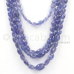 4 Lines - Violet Tanzanite Faceted Beads - 330.5 cts - 4.6 x 3.5 mm to 12.7 x 9.2 mm (TZFB1018)