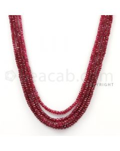 4 Lines - Faceted Medium Red Ruby Beads - 142.16 cts - 2 to 3.7 mm (RFB1091)